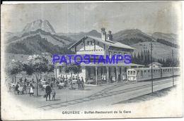 104703 SWITZERLAND GRUYERE STATION TRAIN BUFFER RESTAURANT SPOTTED POSTAL POSTCARD - Switzerland