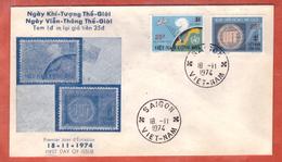 VIETNAM DU SUD FDC U.I.T. SURCHARGES DE 1974 DE SAIGON - Vietnam