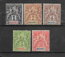 MOHELI N° 1 à 5 NEUF * - COTE = 21.00 € - Moheli (1906-1912)