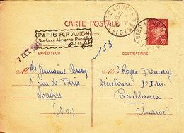 MAROC CARTES INTERZONE PETAIN AVEC SURTAXE AERIENNE 0FR80 POUR  CASABLANCA - Marcophilie (Lettres)