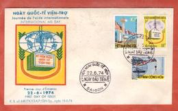 VIETNAM DU SUD FDC AIDE INTERNATIONALE DE 1974 DE SAIGON - Viêt-Nam