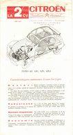 DOCUMENTATION VOITURE DEPLIANT TECHNIQUE SUR 2 CV CITROËN TRACTION AVANT BERLINE AZ AZS LIMOUSINE AZL3 COMMERCIALE AZC - Publicités