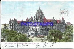 104708 INDIA BOMBAY STATION TRAIN VICTORIA & TRAMWAY BREAK POSTAL POSTCARD - India