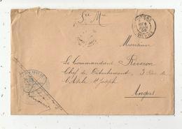Lettre ,Poitiers,1899 , Angers ,F.M. 125 E Régiment D'Infanterie, 3 Scans - Postmark Collection (Covers)