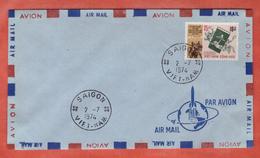 VIETNAM DU SUD FDC 25 DONG SUR 16 DONG DE 1974 DE SAIGON - Vietnam