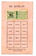 1951  Tessera Cisl Con Bollino Sindacato Nazionale Scuola Elementare - Unione Sindacale Provinciale Di Sassari - Documenti Storici