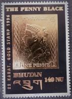"""BHUTAN, Année 1996, """"The Penny Black"""" Noir Et Or Fin 22 Carats, Neuf ** - Bhutan"""