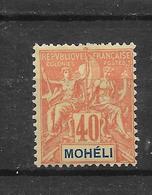 MOHELI N° 10 NEUF * - COTE = 21.00 € - Mohéli (1906-1912)