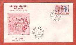 VIETNAM DU SUD FDC MUSIQUE 25 DONG SUR 7 DONG DE 1974 DE SAIGON - Vietnam