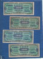 France Trésor -  1945 - 100 Frs  Lot De 4 ( Série 3 - 4 - 5  Et 8 )      Cat Gadoury N°VF25     Circulés - 1945 Verso France