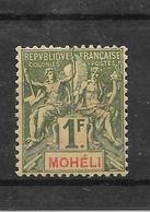 MOHELI N° 14 NEUF * - COTE = 27.00 € - Mohéli (1906-1912)