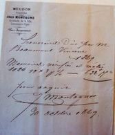 Frais D'honoraires De Notaire En 1869 - Manuscrits