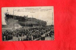 """Carte Postale - SAINT NAZAIRE - Lancement De L'""""ERNEST RENAN"""" Croiseur Cuirassé - Saint Nazaire"""