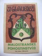 "Czechoslovakia  Matchbox Label 1964 - Prague Little Quarter - ""U Glaubicu"" - Cafe, Restaurant, Wine Bar - Boites D'allumettes - Etiquettes"