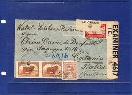##(ROYBOX1)-Postal History-Argentina 1942-Registered Cover From Buenos Aires To Catania-Italy Via Natal-British Censored - Argentine