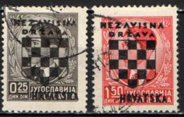 CROAZIA - 1941 - FRANCOBOLLO DELLA JUGOSLAVIA CON SOVRASTAMPA STEMMA DELLA CROAZIA - USATI - Croazia