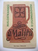 """Czechoslovakia  Matchbox Label 1964 - Prague Little Quarter - """"U Maliru"""" - Restaurant, Wine Bar - Matchbox Labels"""