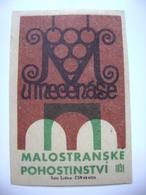 """Czechoslovakia  Matchbox Label 1964 - Prague Little Quarter - """"U Mecenase"""" - Restaurant - Boites D'allumettes - Etiquettes"""