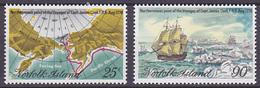 Série De 2 TP Neufs ** N° 214/215(Yvert) Ile Norfolk 1978 - Voyages Du Capitaine James Cook - Ile Norfolk