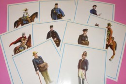 Tenues De Facteurs - Documents émis Par Le Musée De La Poste De Bruxelles - 9 Planches 27x19,5cm - Papier Glacé - Suits