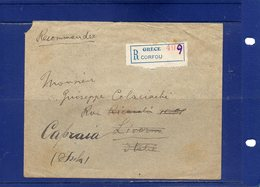 ##(ROYBOX1)-Postal History-Greece 1921-Registered Cover From Corfou  To Livorno - Italy Redirected Isola Capraia(Genova) - Grèce