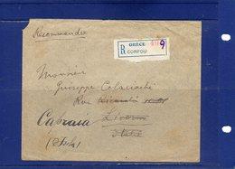 ##(ROYBOX1)-Postal History-Greece 1921-Registered Cover From Corfou  To Livorno - Italy Redirected Isola Capraia(Genova) - Grecia