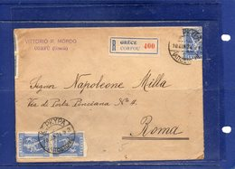 ##(ROYBOX1)-Postal History-Greece 1924-Registered Cover From Corfou  To  Roma - Italy - Grèce