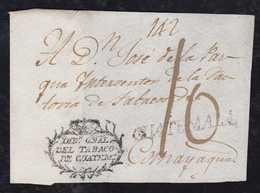 Guatemala Ca 1818 Cover Front GUATEMALA To Comayagua Honduras CROWN DIR GRAL. DEL TABACO DE GUATEM - Guatemala