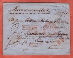 RUSSIE LETTRE CHARGEE RECOMMANDEE DE 1865 DE SAINT PETERSBOURG POUR LANGRES FRANCE - Marcophilie - EMA (Empreintes Machines)