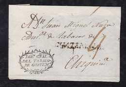 Guatemala Ca 1828 Cover Front GUATEMALA To Chiquimula DIR GRAL. DEL TABACO DE GUATEM - Guatemala