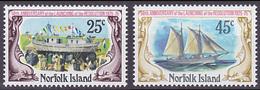 Série De 2 TP Neufs ** N° 169/170(Yvert) Ile Norfolk 1975 - Marine, Lancement De La Goélette Resolution - Ile Norfolk