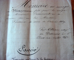 Mémoire Des Ouvrages De Maçonnerie De 1829 - Manuscrits