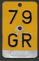 Velonummer Mofanummer Graubünden GR 79 - Plaques D'immatriculation