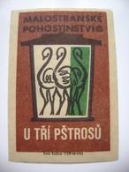"""Czechoslovakia  Matchbox Label 1964 - Prague Little Quarter - """"U Tri Ptrosu"""" - Restaurant - Boites D'allumettes - Etiquettes"""