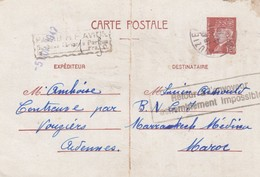 ENTIER CARTE POSTALE PETAIN 1,20F. NOVEMBRE 1942. CONTREUVE VOUZIERS ARDENNE POUR LE MAROC. PARIS RP AVION SURTAXE 1,50F - Postwaardestukken