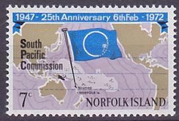 Timbre Neuf ** N° 128(Yvert) Ile Norfolk 1972 - Commission Sud Pacifique - Ile Norfolk