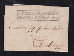 Guatemala Ca 1870 Cover MINISTERIO De GERRA MARINA Y HACIENDA To Chimaltenango - Guatemala