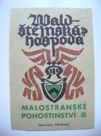 "Czechoslovakia  Matchbox Label 1964 - Prague Little Quarter - ""Waldstejnska Hospoda"" - Restaurant - Boites D'allumettes - Etiquettes"