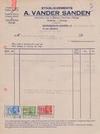 1937: Facture De ## Ets. A. VANDER SANDEN, Rue De La Loi, 10, BXL. ## à ## Ganterie VAN MECHELEN S.A.,Rue Drootbeek,... - 1900 – 1949