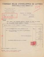 1937: Facture De ## Fabrique Belge D'Enveloppes De Lettres, Faubourg De BXL., 63-65-84, GOSSELIES ## à ## Ganterie ... - Imprenta & Papelería