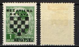 CROAZIA - 1941 - EFFIGIE DI RE PIETRO II CON SOVRASTAMPA STEMMA DELLA CROAZIA - MH - Croatie