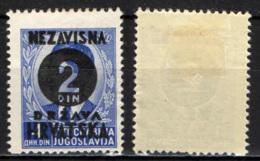 CROAZIA - 1941 - EFFIGIE DI RE PIETRO II CON SOVRASTAMPA CIFRA - MH - Croatie