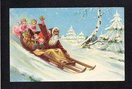 Noël / Joyeux Heureux Noël / Père Noël,jouets,traineau Poussé Par Des Anges Ou Angelots ( Illustrateur à Identifier ) - Noël