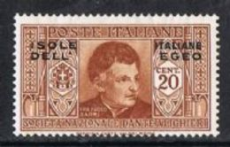 Dodecanese Islands SG72 1932 Dante 20c Mounted Mint [9/10596/7D] - Dodecaneso