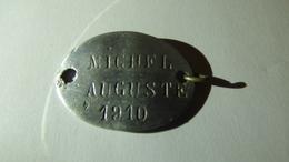 Plaque D'identité De MICHEL Auguste, 4e RI, 168e RI, 89e RI - 1914-18