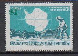 Chile 1982 Antarctic Treaty 1v Overprinted ** Mnh (41468K) - Chili