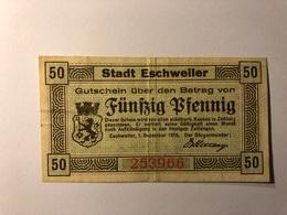 Allemagne Notgeld Allemagne Eschweiller 50 Pfennig - [ 3] 1918-1933 : République De Weimar