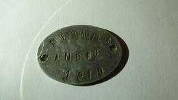 Plaque D'identité De MEUNIER André, 37e RI, 29e BCP, Blessé En 15, Médaille Militaire - 1914-18