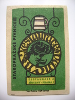 "Czechoslovakia  Matchbox Label 1964 - ""Restaurace U Supa"" - Old Prague Pub Beerhouse Bierstube Brasserie - Boites D'allumettes - Etiquettes"