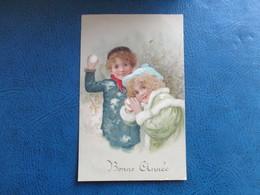 CPA  FANTAISIE BONNE ANNEE ENFANTS BOULES DE NEIGE M.M VIENNE N° 285 - Nouvel An